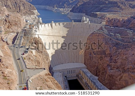 View from the Mike O'Callaghan-Pat Tillman Memorial Bridge of the famous Hoover Dam near Las Vegas, Nevada