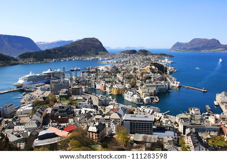 view from the mountain Aksla at the city of Alesund , Norway. - stock photo