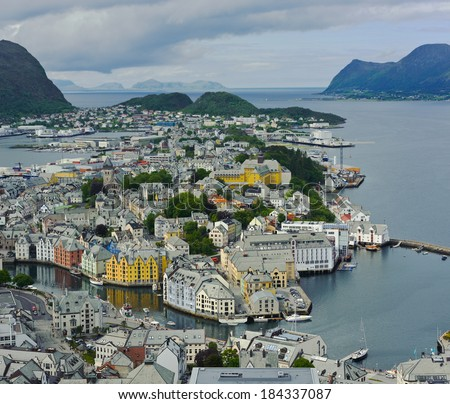 view from the mountain Aksla at the city of Alesund , Norway, panorama
