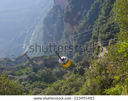 view from the mountain, cable car, Montserrat, Spain