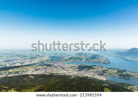 View from the mountain Pilatus at Lucerne, Switzerland, with copyspace - stock photo