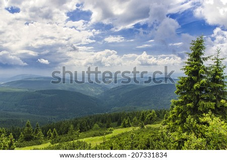 view from the mountains to the Czech countryside - stock photo