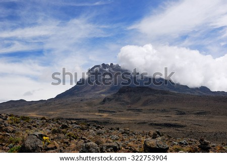 View from the mt Kilimanjaro on the peak Mawenzi in Tanzania - stock photo