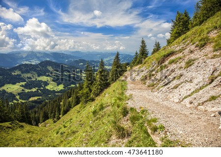 View from the Nagelfluh Ridge to the Alps; Oberstaufen Steibis, Alps, Region Allgäu, Bavaria, Germany