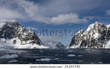 View from the north into Lemaire Channel, Antarctica - stock photo