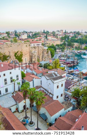 View from the observation tower to the old city of Antalya and yacht marina bay