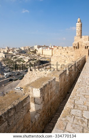 View from the old city wall of Jerusalem. The current city wall has been constructed in the 16th century.