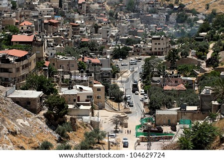 View from the old city walls on East Jerusalem . Israel . - stock photo
