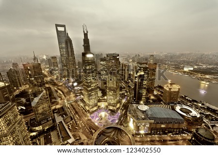 view from the Oriental Pearl TV Tower.shanghai lujiazui financial center aside the huangpu river. - stock photo