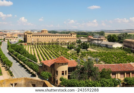 "View from the Palacio de los Reyes de Navarra de Olite (""Palace of the Kings of Navarre of Olite"") on the town of Olite, Navarre. - stock photo"