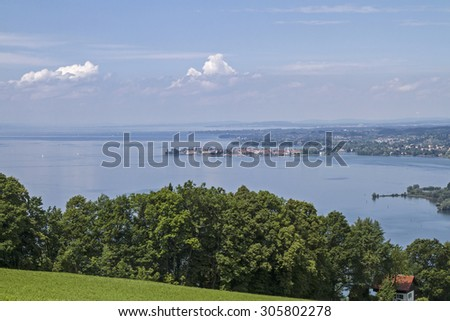 View from the Pfaender on the eastern Lake Constance and Lindau - stock photo