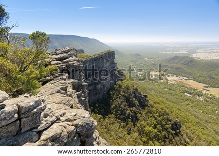 View from the Pinnacle of Halls Gap in the Grampians National Park, Victoria, Australia - stock photo