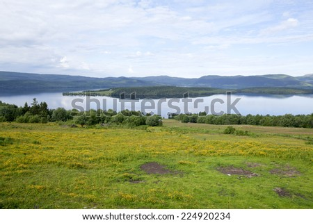 View from the Ravens Eye over the valley, lake and mountain in the background. - stock photo