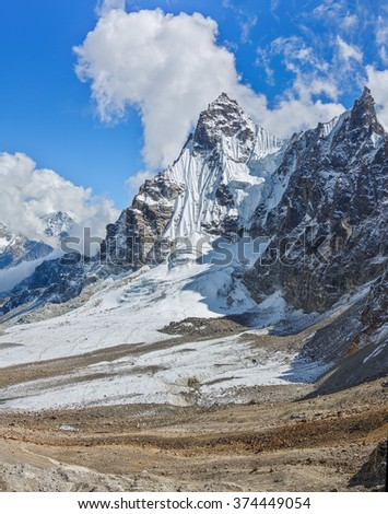 View from the Renjo Pass (5360 m) on the South - Gokyo region, Nepal, Himalayas - stock photo