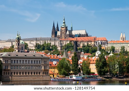 View from the right bank of the Vltava River to Prague's Hradcany. Czech Republic - stock photo