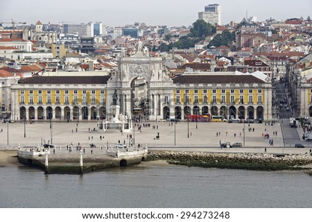 View from the River Tagus of the vast Praca do Comercio (Comercio Square) in Lisbon, Portugal  - stock photo