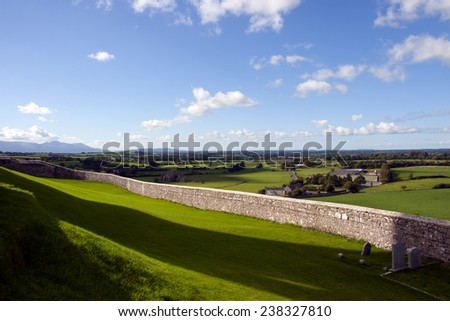 view from the rock of Cashel of the beautiful green fields and countryside - stock photo