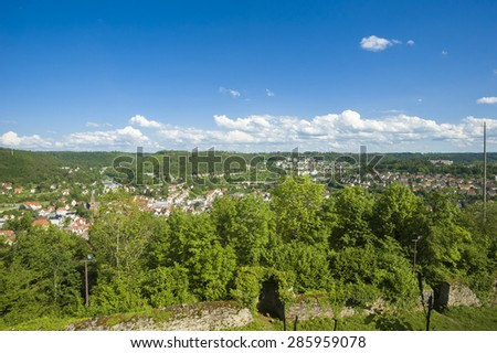 View from the ruin of the castle Hohennagold, Nagold, Black Forest, Baden-Wurttemberg, Germany, Europe - stock photo