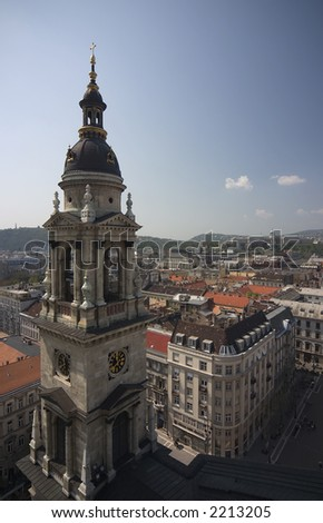View from the Saint Stephen's Basilica cathedral in  Budapest