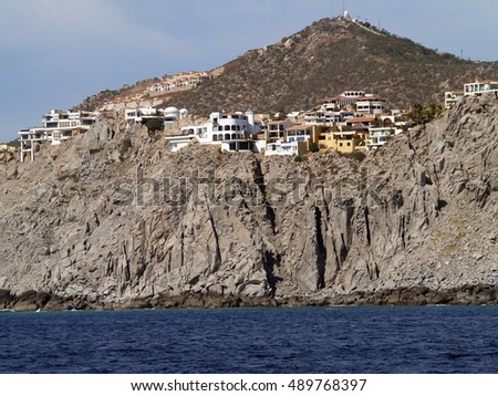 View from the sea of the coastline at Cabo San Lucas, Mexico