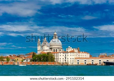 View from the sea to Basilica di Santa Maria della Salute, Venice, Italia - stock photo