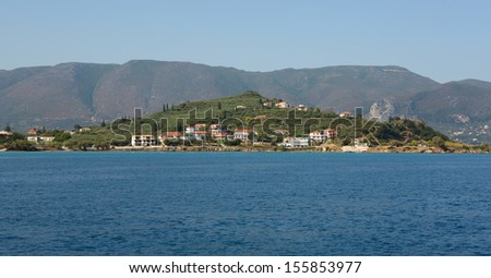View from the sea to the island of Zakynthos, Greece