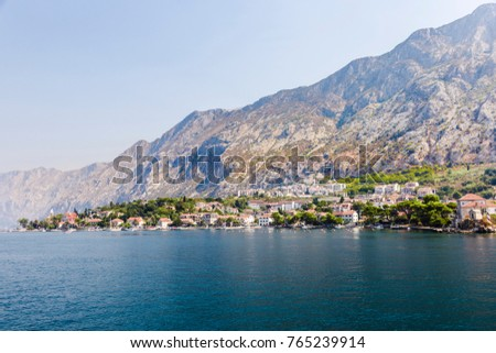 view from the sea to the mountain architectural landscape, summer travel Montenegro