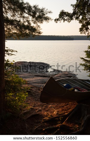 view from the shore at Canisbay Lake Algonquin park - stock photo