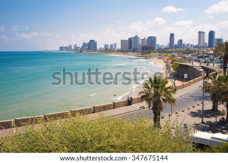 view from the shore to the modern district of Tel Aviv - stock photo