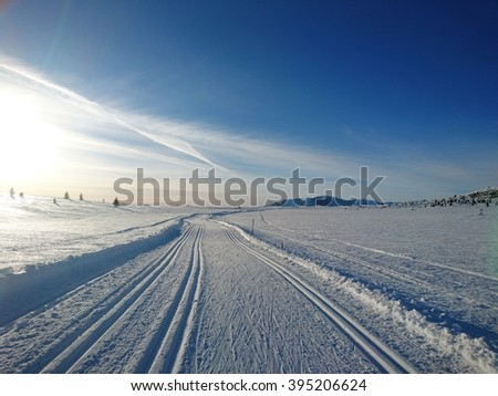 view from the ski tracks in Norway  - stock photo