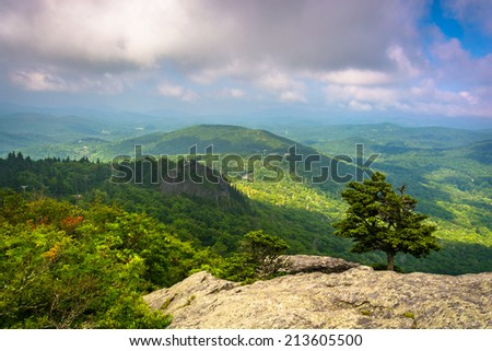 View from the slopes of Grandfather Mountain, near Linville, North Carolina. - stock photo