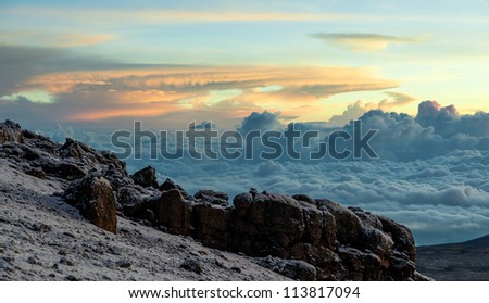 View from the slopes of Kilimanjaro peak Mawenzi in evening - Tanzania, East Africa - stock photo