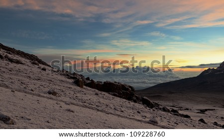 View from the slopes of Kilimanjaro peak Mawenzi in evening - Tanzania, Eastern Africa - stock photo