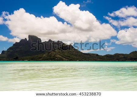 View from the small island of the coast of the island of Bora Bora, French Polynesia. - stock photo
