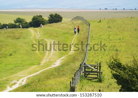 view from the south downs way footpath, sussex, england uk - stock photo