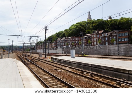 view from the station Guillemins in Li�¨ge, Belgium - stock photo