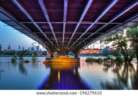 View from the steel bridge to Warsaw at dusk. Bridge Slasko-Dabrowski.HDR-high dynamic range - stock photo