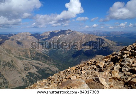 View from the summit of 14,433 foot elevation Mount Elbert, high point of Colorado.