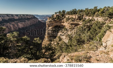 View from the sunny rocky mountains to big walley, Colorado, USA - stock photo
