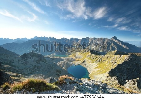 View from the Swinica Peak on the High Tatra Mountains, Poland.