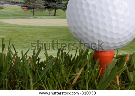 view from the tee - stock photo