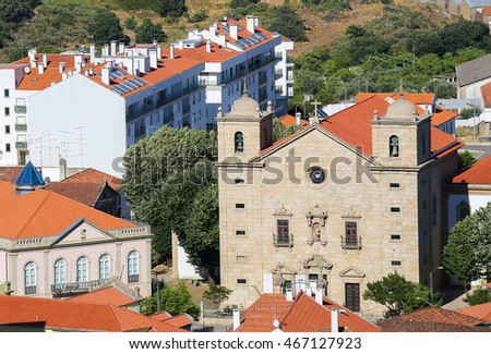 View from the Templars Castle on the Cathedral or Se of Castelo Branco, a city in the Centro region of Portugal.