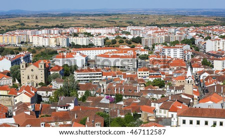 View from the Templars Castle on the center and Se Cathedral of Castelo Branco, a city in the Centro region of Portugal.