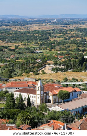 View from the Templars Castle on the famous Convent and church of Graca in Castelo Branco, a city in the Centro region of Portugal.
