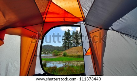 view from the tent - stock photo