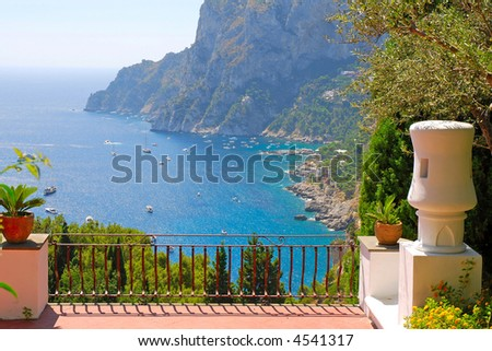 View from the terrace of luxury villa - stock photo