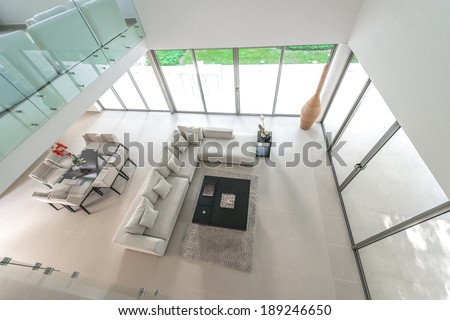 View from the top at the modern luxury living room. Interior design. - stock photo
