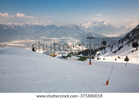 View from the top of a mountain in Austria. - stock photo