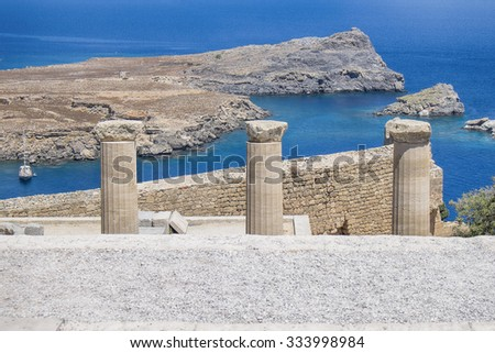 view from the top of Acropolis in Lindos city  Rhodes island in Greece - stock photo