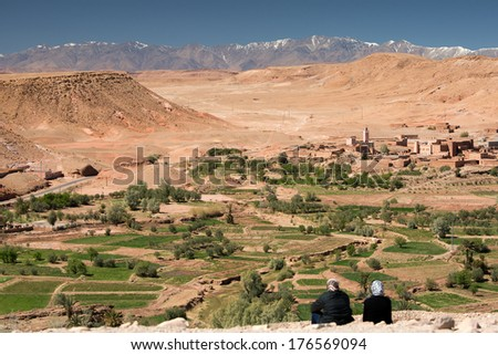 View from the top of Ait Benhaddou village, High Atlas, Morocco